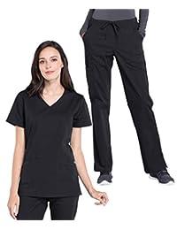Cherokee 工作服专业女士*服套装 - WW655 假门襟束腰上衣和 WW160 中腰直筒束带裤
