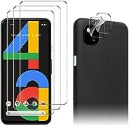 Luibor 适用于 Google 谷歌 Pixel 4a 屏幕保护膜 [3 件装] + 适用于 Google 谷歌 Pixel 4a 相机镜头保护膜,防指纹防刮钢化玻璃,适用于 Google Pixel 4a