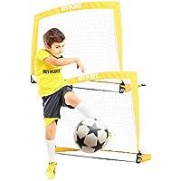 NETPLAYZ 儿童足球门,弹出式足球门网(后院体育和家庭游戏)便携式,2件套
