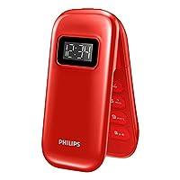 Philips飞利浦 E321 翻盖老人手机双屏大字大声大按键老年机双卡双待学生手机备用机 (红色)