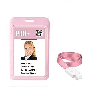 徽章夹姓名标签 ID 卡盒带可拆卸颈部挂绳适用于学校商务办公室(品面) 12Pack 粉红色