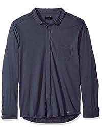 HANRO 男式河流长袖前纽扣衬衫