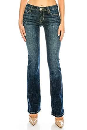 Eunina 女士基本款修身喇叭牛仔裤 702 Dark 3