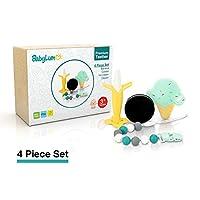 BabyLum 高级硅胶婴儿磨牙玩具 4 件套 - 香蕉、饼干、冰淇淋和摇铃牙胶剪,适合 3 个月及以上宝宝