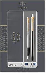Parker IM Duo 礼品套装,带圆珠笔和钢笔 Jotter Ballpoint/Fountain 带金色镶边的不锈钢