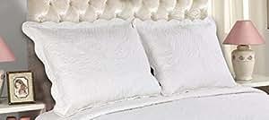 ALL FOR YOU 2 件刺绣枕套 - 大号双人床尺寸 - 白色(大号,白色) 白色 King B00Y71K0S0