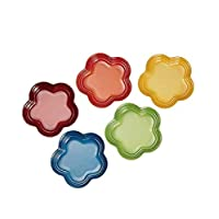 Le Creuset 酷彩 花型樣式餐具 盤子 LC(S)彩虹色 耐熱耐冷 可用微波爐 5件