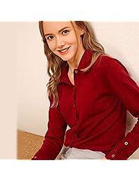 DaiQimi 黛琪迷冬新款女羊绒衫衬衫领羊毛衫短款开衫外套宽松打底毛衣