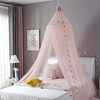 公主床罩纱网儿童婴儿床儿童圆顶帐篷室内户外城堡悬挂装饰阅读帆布白色 粉红色