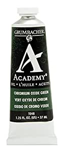 Grumbacher Academy 油画,37ml/1.25 盎司,氧化铬绿 (T048) 37 ml Chromium Oxide Green