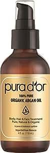 Pura d'or 金标 纯正摩洛哥 有机阿甘油(4液体盎司),护理面部,头发和指甲