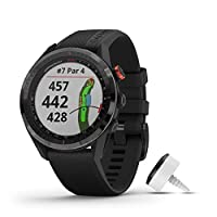 Garmin 佳明 Approach S62 高级高尔夫 GPS 手表,内置虚拟表壳,绘图和全彩色屏幕010-02200-02 Bundle with CT10 黑色捆绑包