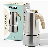 AURAUN 不锈钢意式浓缩咖啡机 6 杯 10 盎司/300 毫升 Moka 壶也被称为古巴咖啡机意大利咖啡机或咖啡壶适用于电磁炉、燃气或电炉