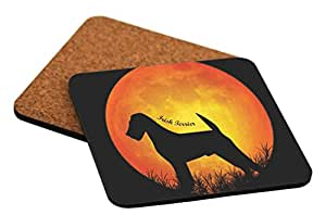 Rikki Knight Irish Terrier Dog Silhouette by Moon Design Cork Backed Hard Square Beer Coasters, 4-Inch, Brown, 2-Pack