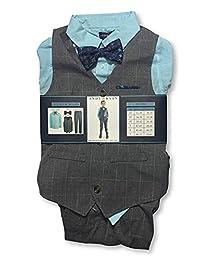 Andy & Evan 男童正装 4 件套西装带背心、领带、衬衫和裤子(灰色/蓝色,3T)