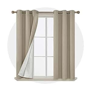 Deconovo 索环窗帘隔热遮光窗帘带后侧银色 2 幅 96.52 cm 米色 38x54 inch CT2770D-2