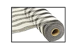 25.4 厘米 x 76.2 厘米 Deco 聚乙烯网丝带 黑白条纹 RE1316E7
