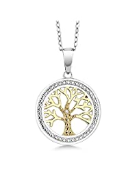生命之树钻石突显吊坠项链,双色925 纯银 10MM 带 45.72 cm 银色链