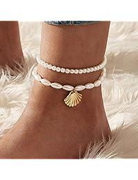 Asooll 波西米亚层珍珠脚链时尚脚踝手链夏季海滩脚链首饰链套装适合女士和女孩