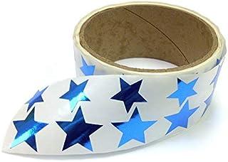 金属箔星形贴纸,各种尺寸,9.53 厘米和 2.54 厘米 - 每卷 476 个标签,卷上带有穿孔,每 10 个标签后 蓝色