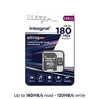 Integral 128GB Micro SD 卡可讀取 180MB/s 并寫入 130MB/s MicroSDXC V30 U3 UHS-1 4k 視頻 A2-2020 新款