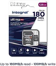 Integral 128GB Micro SD 卡可读取 180MB/s 并写入 130MB/s MicroSDXC V30 U3 UHS-1 4k 视频 A2-2020 新款