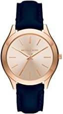 Michael Kors Women's Rose Goldtone Slim Runway Navy Leather Watch