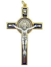 WJ Hirten 奇迹勋章十字架 7.62 cm 金色蓝色珐琅十字架