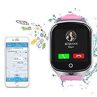 儿童智能手表电话 - GPS 追踪器防水智能腕表带 APP 男孩女孩 SOS 相机 3G SIM 卡触摸屏游戏智能手表户外活动玩具儿童节礼物