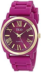 TKO Women's Round Metal Gold Bezel Berry Purple Soft Rubber Band Roman Numeral Watch TK641PR