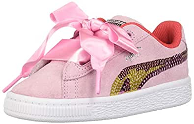 PUMA 彪马 中性儿童麂皮心形拖鞋亮片运动鞋 Pale Pink-hibiscus - White 3.5 Big Kid