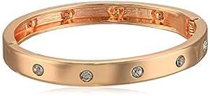 GUESS 窄铰链带水晶手镯 Rose Gold