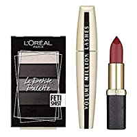 L'Oreal Paris Glam Me Up Make Up Kit, Smokey Eye Palette, Volume Million Mascara, Red Matte Lipstick, 3-Piece