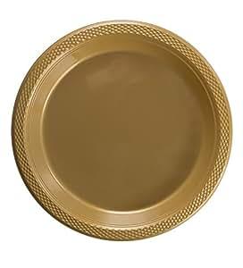精致的塑料点心盘/沙拉盘 - 纯色一次性盘子 - 100 个 金色 9 Inch. 43237-2