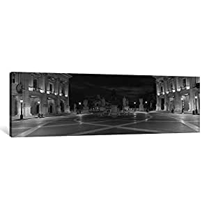 iCanvasART PIM8797bw-1PC3-36x12 Marcus Aurelius Statue at a Town Square, Piazza del Campidoglio, Capitoline Hill, Rome, Italy Black and White Canvas Print by Panoramic Images, 12 x 36 x 0.75-Inch