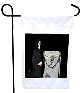Rikki Knight 死神骨架链条屋或花园旗帜,11 x 11 英寸图像,12 x 18 英寸