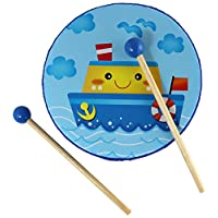 儿童手鼓玩具 - 小号木鼓 - 2 个木槌