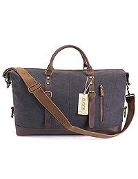 AUGUR 超大旅行行李袋 - 防水帆布周末皮革夜间手提包