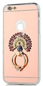 Iphone 6/6S(4.7 英寸)手机壳,TAIYANYU 3D 手工制作闪亮粉色水晶孔雀带金属环支架,360 度旋转设计玫瑰金色镜软质 TPU 透明外壳适用于 iPhone 6/6S 4.7 英寸