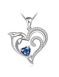 长途心形方晶锆石 925 纯银海豚 - 女式项链 239