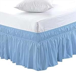 包裹式弹性床裙 - 涤纶棉 - 易穿/易脱 床罩 柔软防皱床裙 浅蓝色 Full-6 Inch VV-Wrap-01-313