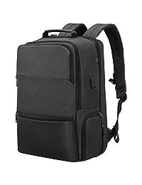 黑色笔记本电脑背包,大型随身商务工作学校背包,带 USB 端口