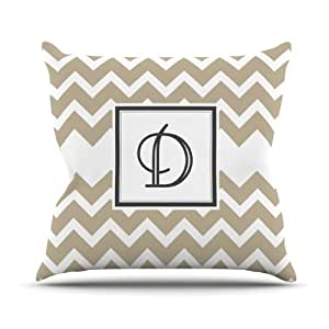 Kess InHouse KESS 原创交织字母 V 形棕褐色字母 D 户外抱枕,50.8 x 50.8 厘米