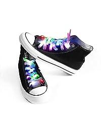 发光鞋带 3 种闪烁模式照明,适用于夜晚派对嘻哈舞蹈自行车、徒步、滑冰跑
