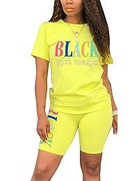 女式彩虹 2 件套 - 休闲短袖 T 恤紧身短裤套装连身裤 (Letter) Light Yellow 3X-Large