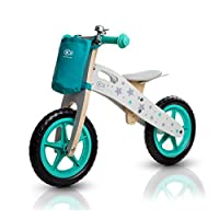 德国 KinderKraft可可乐园Runner Stars Bikes平衡车两轮儿童无脚踏木质双轮滑行体感自行车星星款浅青色