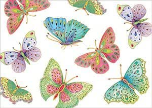 Entertaining with Caspari 8898RSC Ivory Roll of Gift Wrap, Jeweled Butterflies