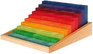 Grimm's 木质踏板计数积木收纳盒 - 100 块积木 1 厘米到 10 厘米高(2x2 尺寸)