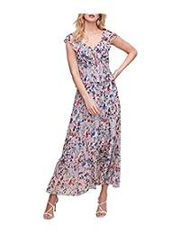 ASTR 标签女式短袖盖袖双 V 型飘逸迷幻中长连衣裙