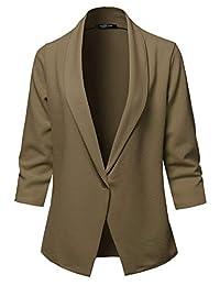 SSOULM 女式宽松工作办公室单扣西装外套,加大码